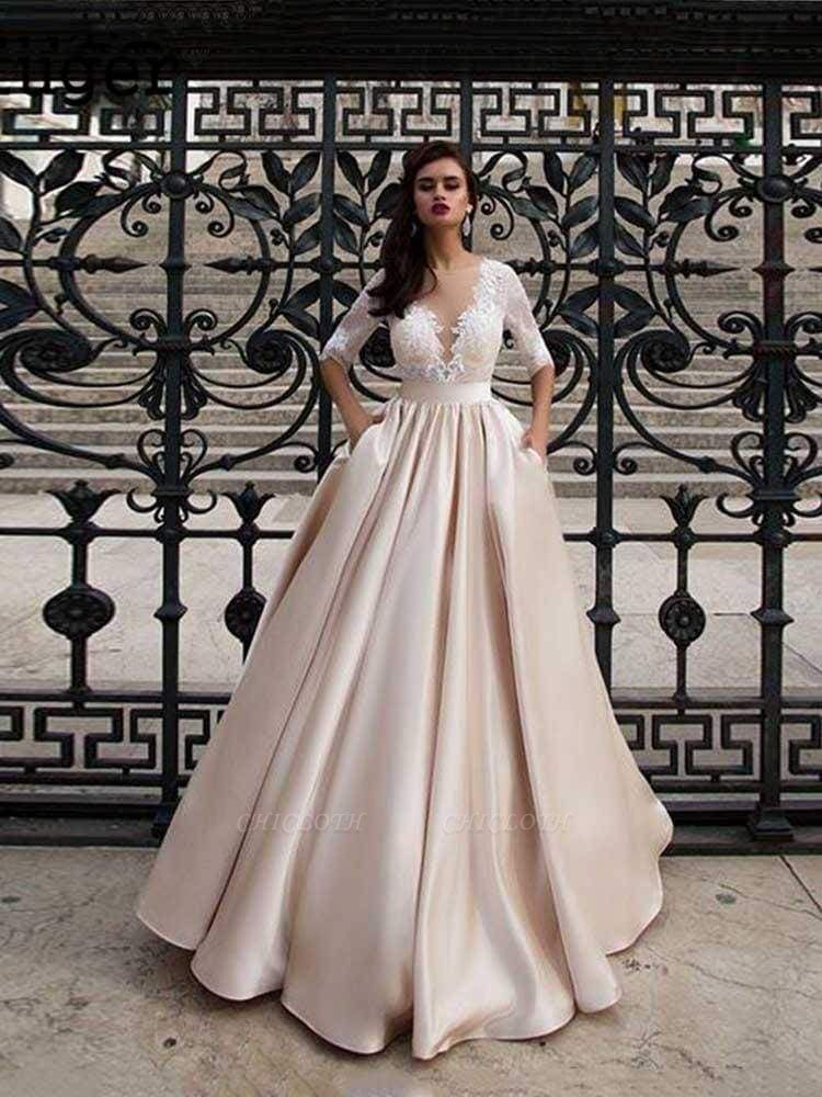 Chicloth Vintage Half Sleeves Lace Satin Wedding Dresses