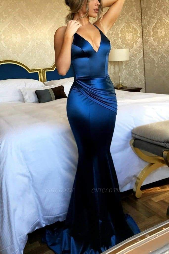 Chicloth Mermaid V Neck Party Sexy Prom Dresses Unique Sleeveless Long Dress