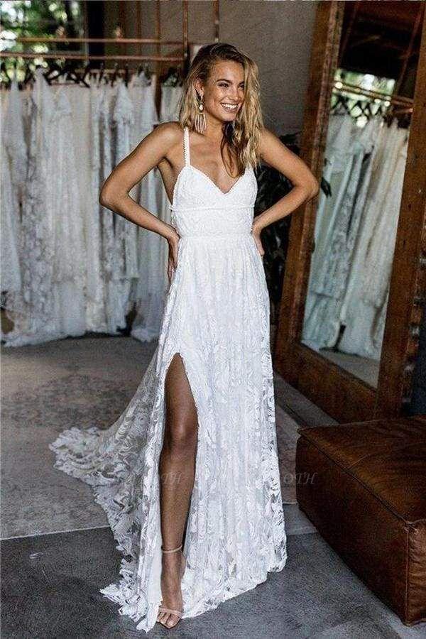 Chicloth A Line Floor Length Split Beach Lace Wedding Dress