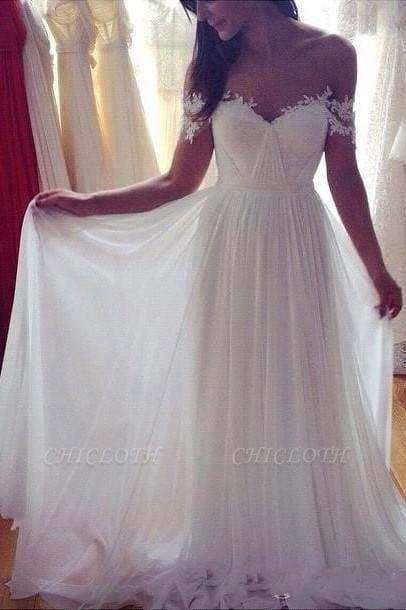 Chicloth Simple A-Line Appliques Ivory Chiffon Beach Wedding Dress