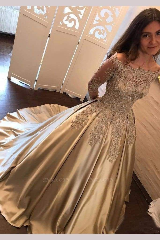 Chicloth Chic Gold Off Shoulder Long Sleeve Ball Gown Appliques Satin Prom Dress