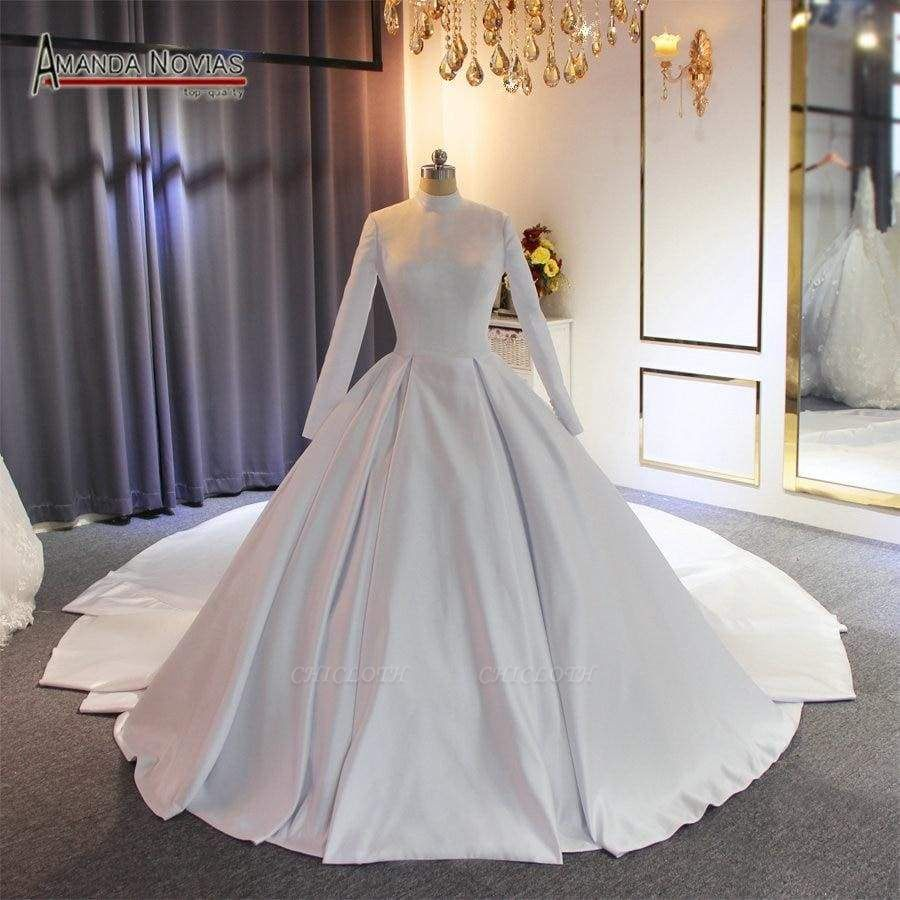 Chicloth Elegant High Neckline Satin Wedding Dresses with Long Train