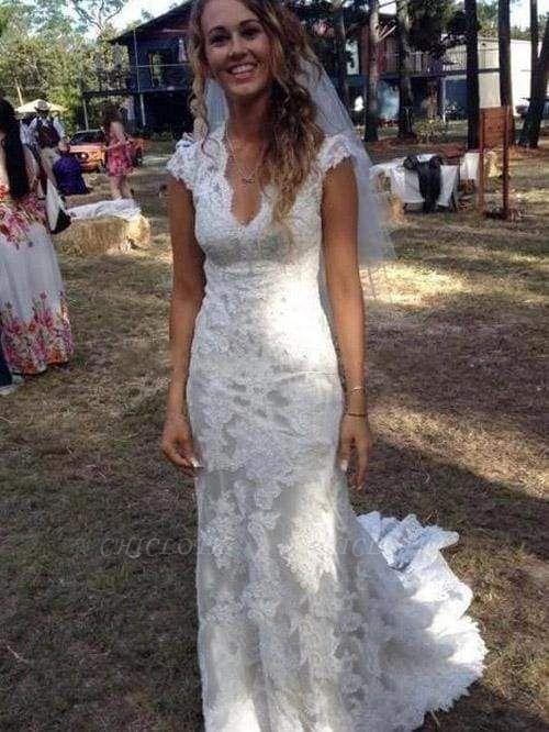 Chicloth V Neck Cap Sleeves Floor Length Lace Wedding Dresses