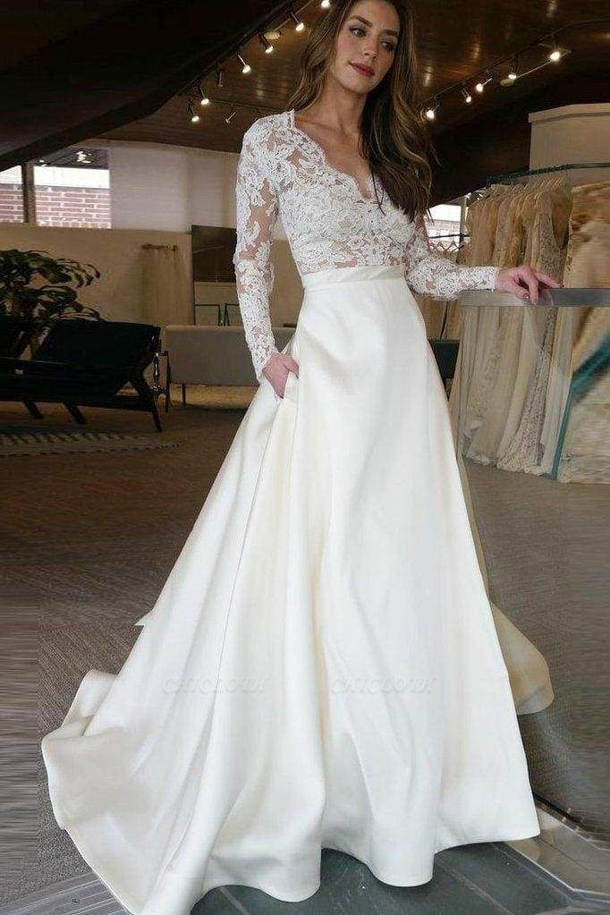 Chicloth V Neck Long Sleeves Ruffles Wedding Dresses