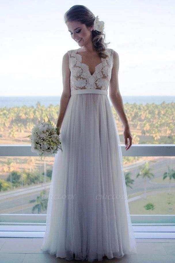 Chicloth A Line Floor Length V Neck Sleeveless Tulle Beach Wedding Dress with Lace