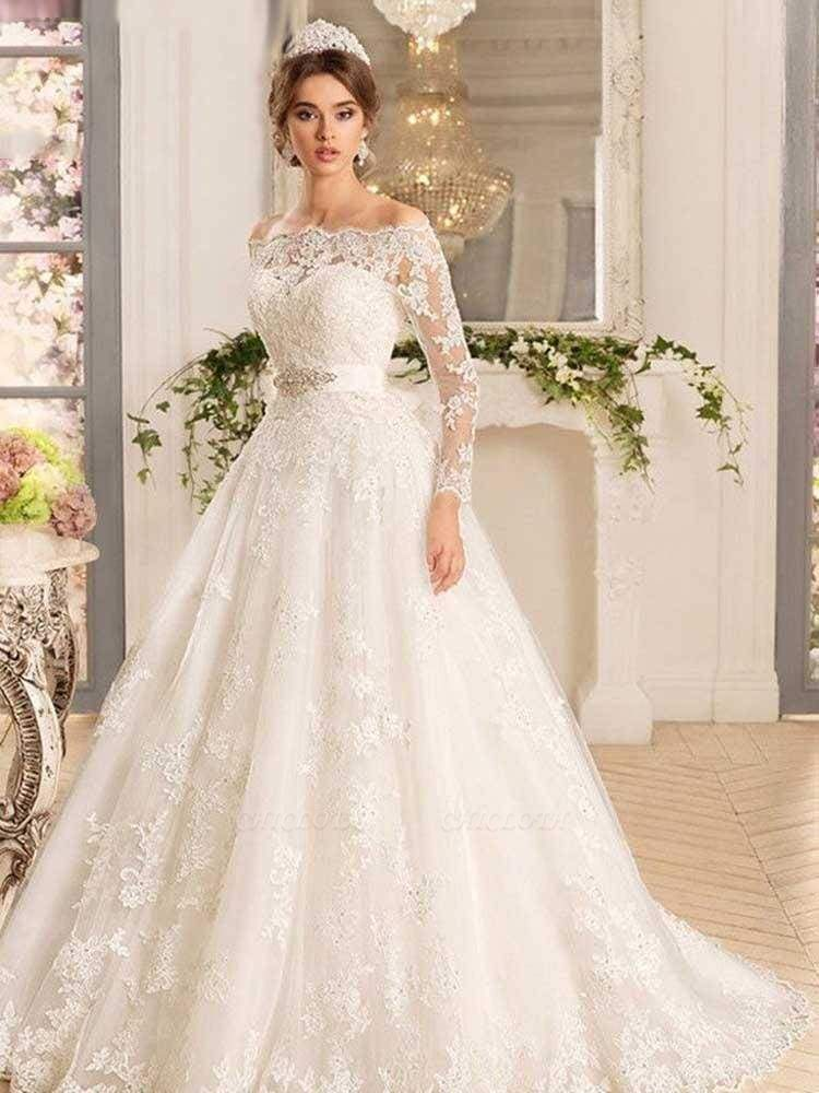 Chicloth Off-the-Shoulder Tulle Ruffles Wedding Dresses