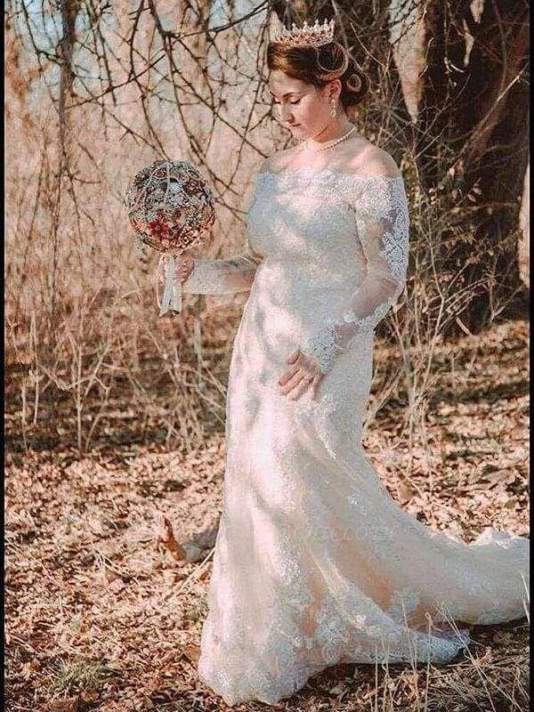Chicloth Long Sleeves Detachable Train Appliques Mermaid Wedding Dresses