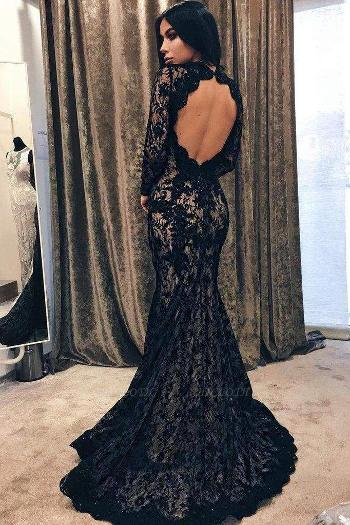 Chicloth Black Mermaid Jewel Sleeve Lace Open Back Evening Dress Long Prom Dress