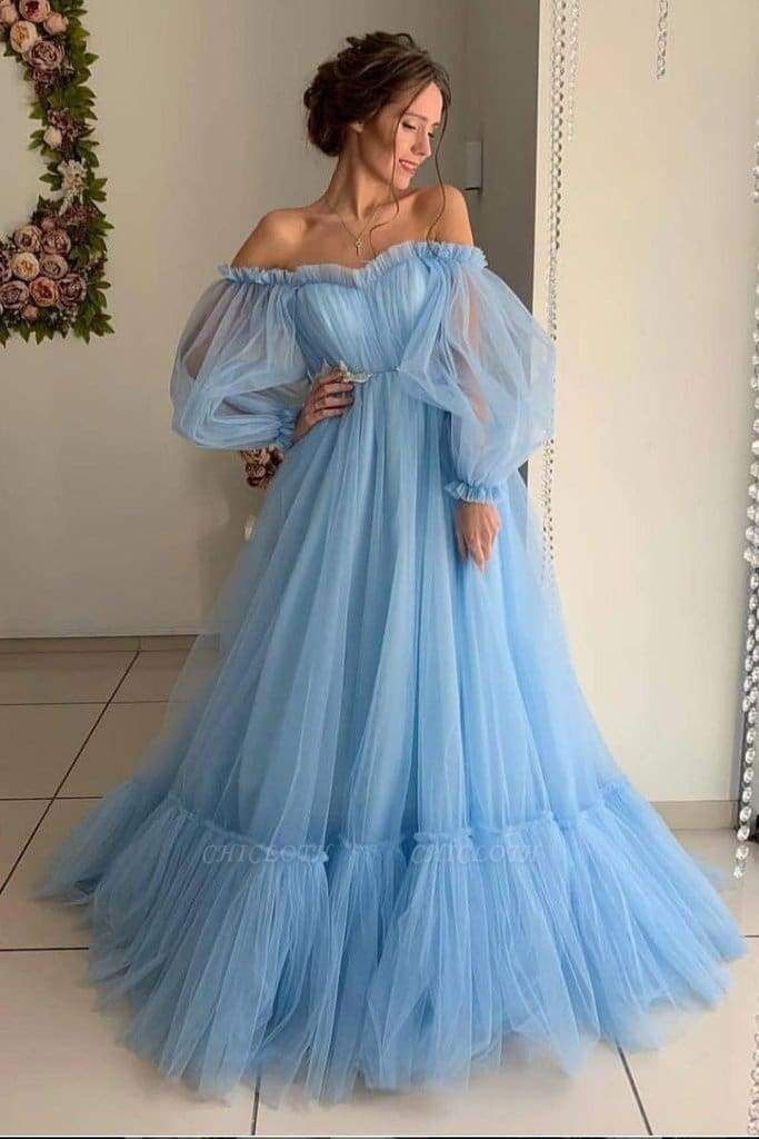 Chicloth A Line Sleeve Off the Shoulder Long Prom Blue Tulle Floor Length Formal Dress