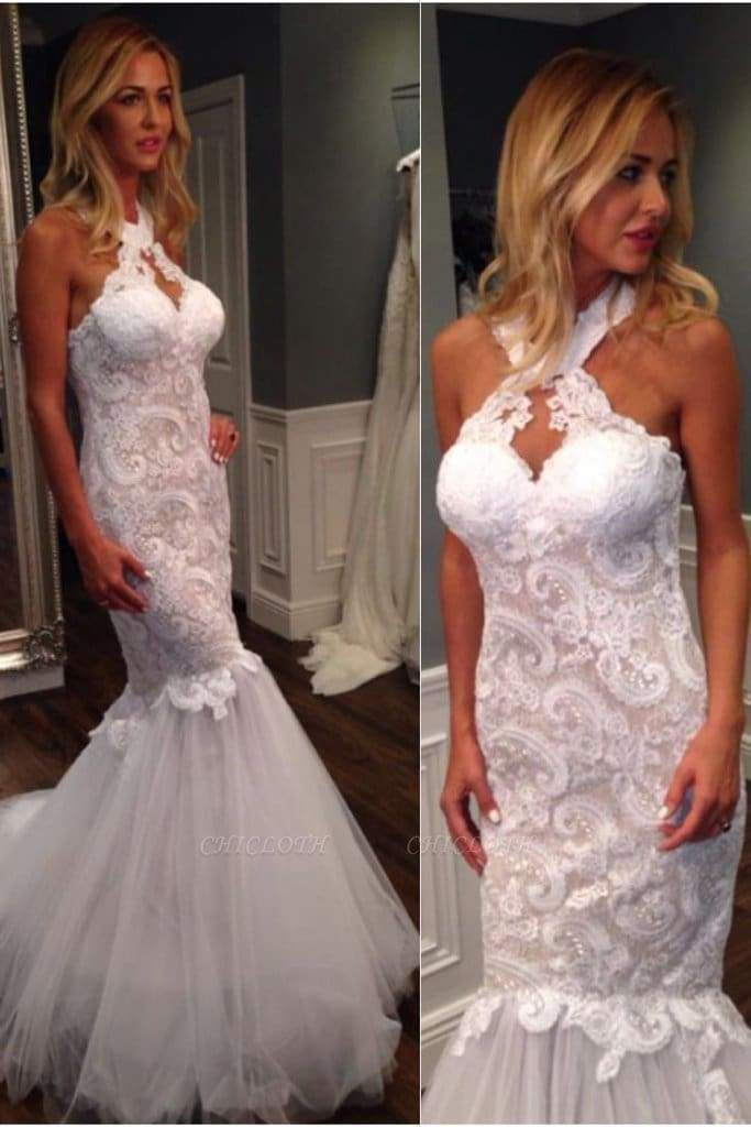 Chicloth Mermaid Halter Sleeveless Tulle with Lace Appliques Long Wedding Dress