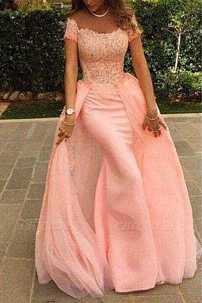 Chicloth Coral Prom Dresses Mermaid Lace Long Evening Gowns