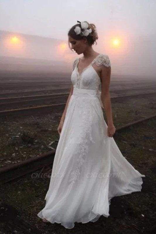 Chicloth Romantic V Neck Cap Sleeves Chiffon Beach Wedding Dress