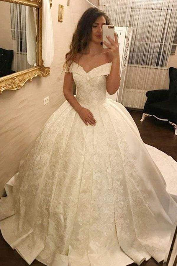 Chicloth Ivory Ball Gown Off-the-Shoulder Pleated Satin Lace Appliques Wedding Dress