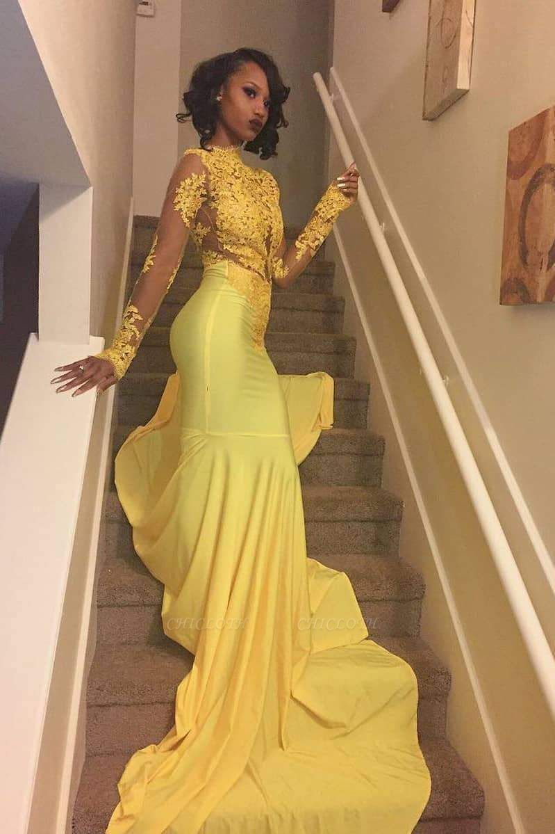 Chicloth Wonderful Long Sleeve Lace Appliques Long Train Evening Gown