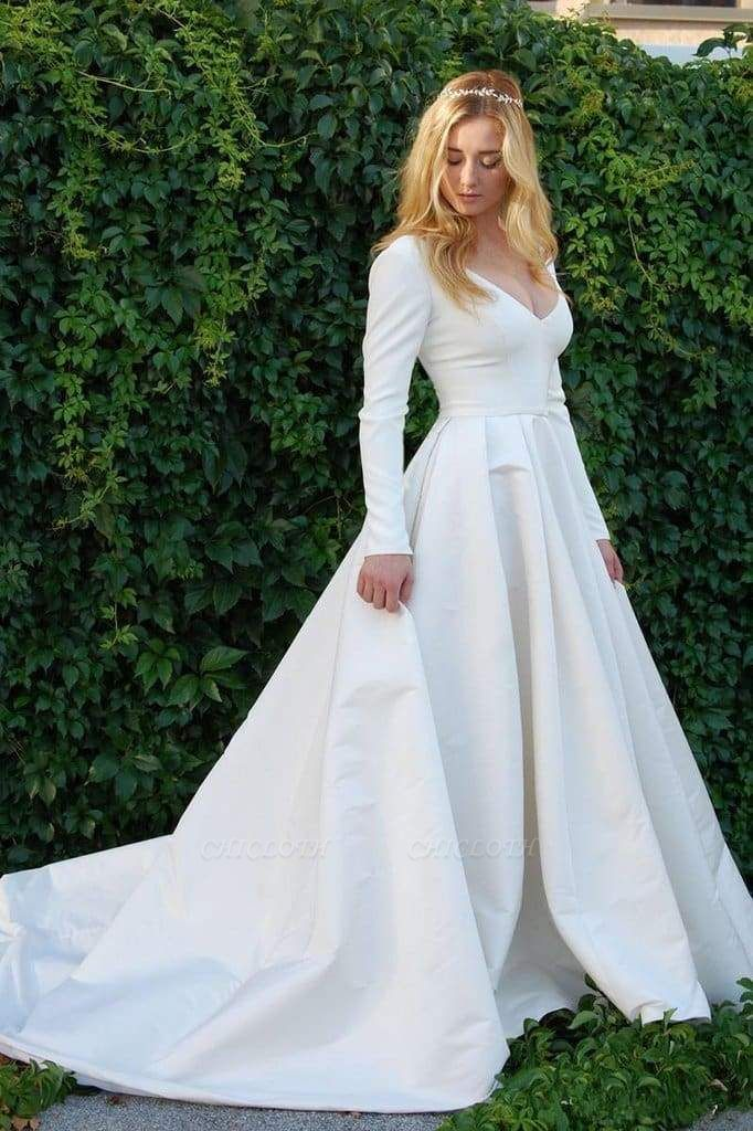 Chicloth New Elegant Satin V Neck Long Sleeve Wedding Dress