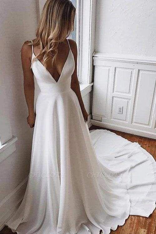 Chicloth Simple Spaghetti Strap Chiffon Beach Wedding Dress