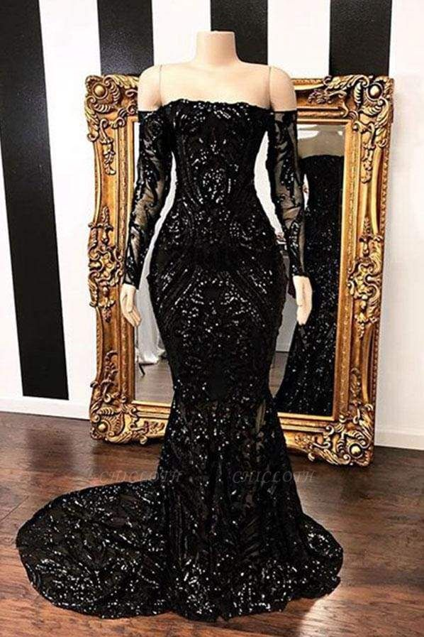 Chicloth Fabulous Long Sleeve Sequins Mermaid Prom Dresses