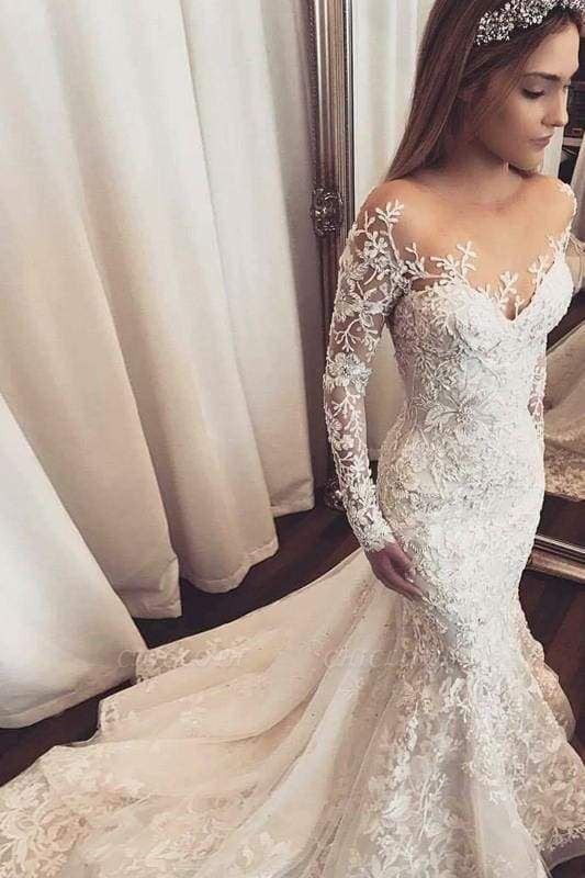 Chicloth Gorgeous Mermaid Illusion Long Sleeves Tulle Appliques Beach Wedding Dress