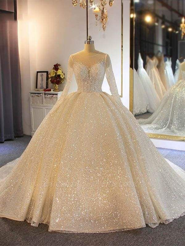Chicloth Sparkling Shinny Lone Sleeves Lace- Up Ball Gown Wedding Dresses