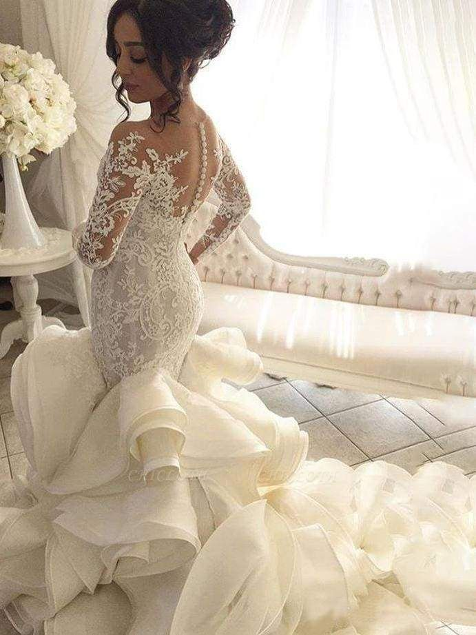 Chicloth Gorgeous Long Sleeve Ivory Appliques Ruffles Wedding Gowns