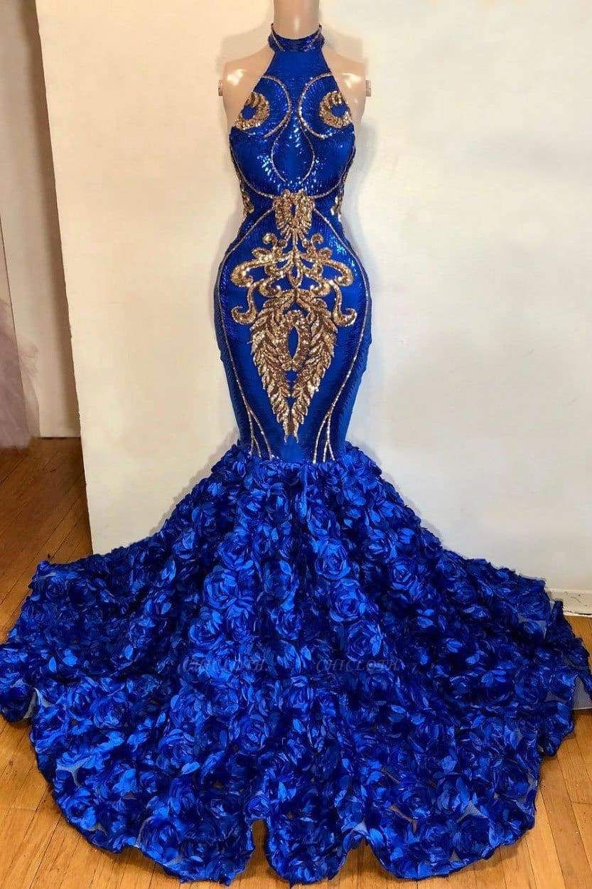 Chicloth Stunning Sequins Rose Flowers Mermaid Prom Dresses