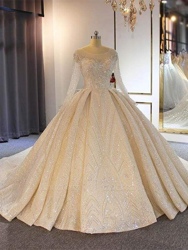 Chicloth Luxury O-Neck Long Sleeves Lace Ball Gown Wedding Dresses
