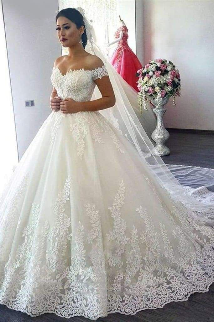 Chicloth New Off The Shoulder Ivory Tulle Applique Sweep Train Wedding Dress