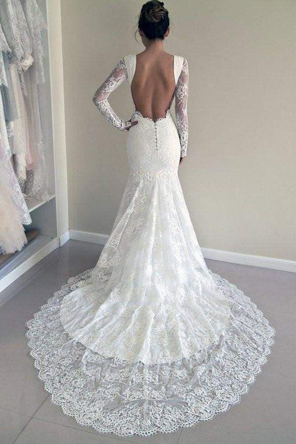 Chicloth Long Sleeves Open Back Lace with Train Mermaid Beach Wedding Dress