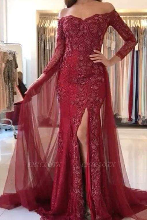 Chicloth Burgundy Off-the-shoulder 3\/4 Sleeves Split Tulle Prom Dress Long Formal Gown