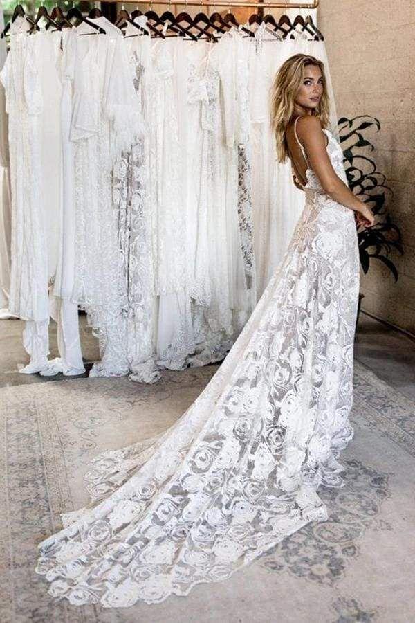 Chicloth Spaghetti Straps Backless Lace Boho Wedding Dress