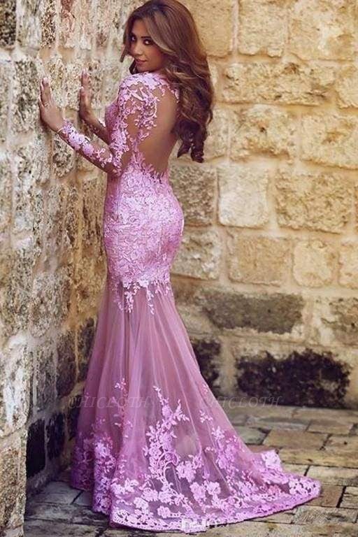 Chicloth Excellent Glorious Precious Sexy Mermaid Long Sleeves Tulle Appliques Dresses Backless Prom Dress