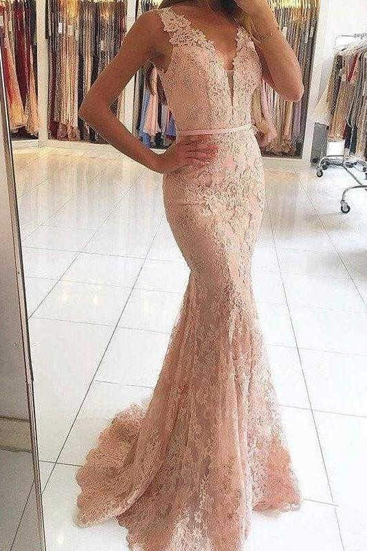 Chicloth Pink Sleeveless Formal Dresses Mermaid Sheer Back Lace Prom Gown