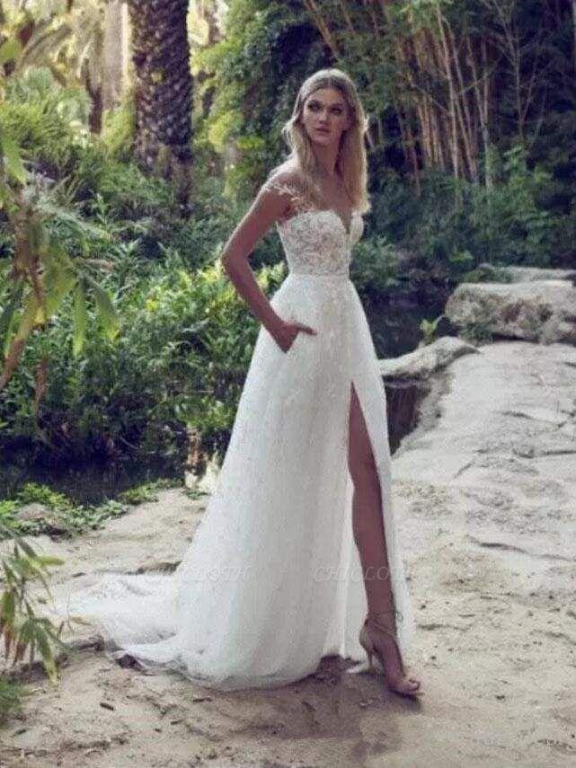 Chicloth Split Lace Applique Sweep Train A Line Wedding Dresses