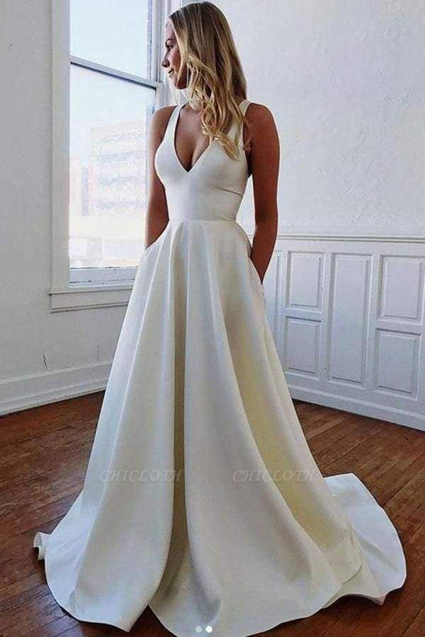Chicloth Charming V-neck Bow Back A-Line Wedding Dress