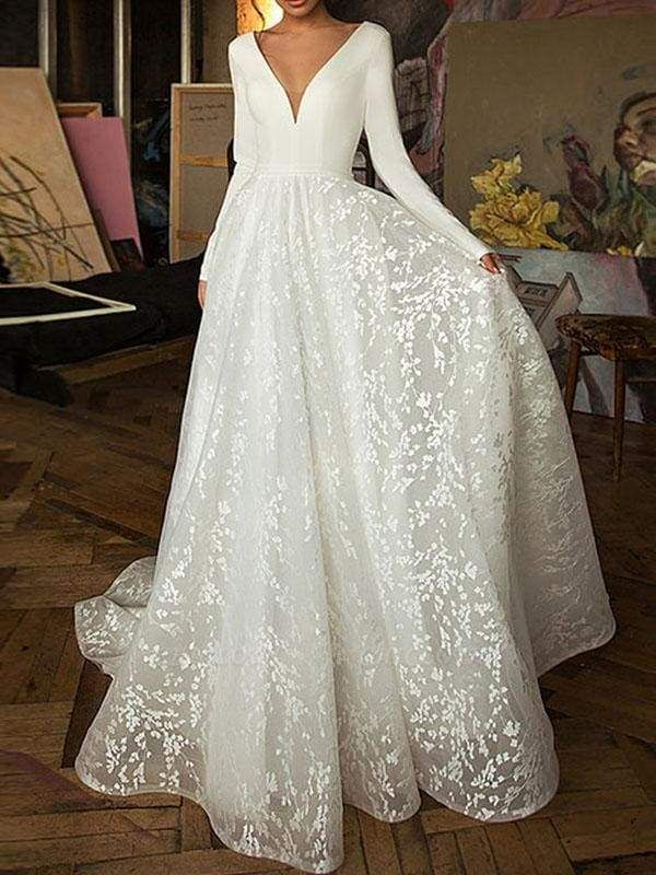 Chicloth Elegant V-Neck Covered Button A-Line Wedding Dresses with Long Sleeves