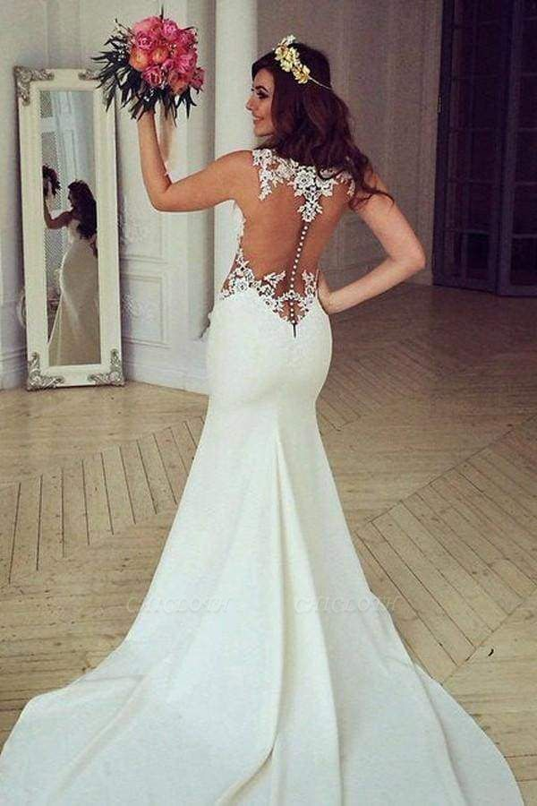 Chicloth Stunning Pretty Mermaid Sleeveless Lace Appliques Wedding Dress