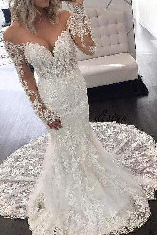 Chicloth Illusion Sleeve Lace Mermaid Gorgeous Long Wedding Dress