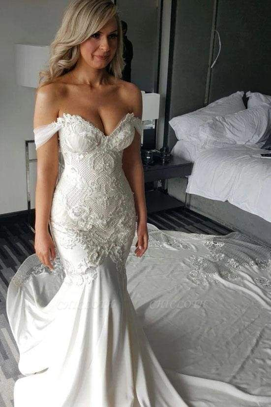 Chicloth Gorgeous Mermaid Off the Shoulder Lace Appliques Wedding Dress