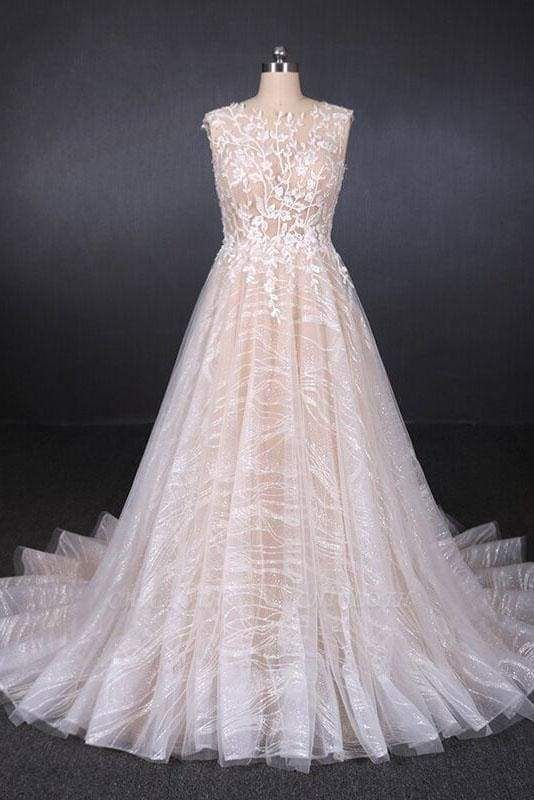 Chicloth Puffy Sleeveless Lace Elegant A Line Backless Wedding Dress