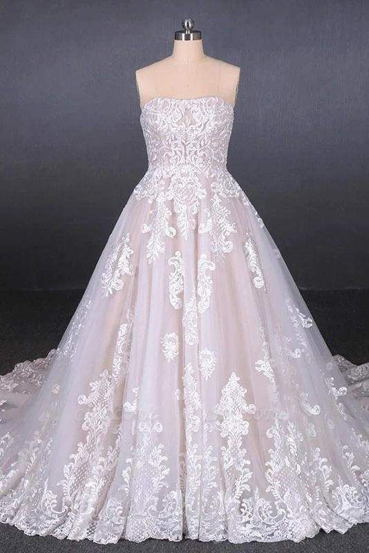 Chicloth Puffy Strapless Tulle with Appliques Long Train Lace Up Wedding Dress
