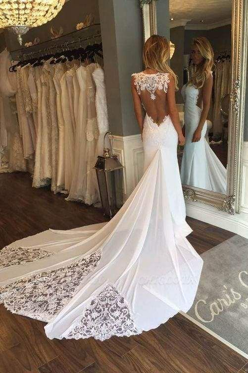 Chicloth Pretty Sheath Sleeveless Long Beach with Lace Wedding Dress