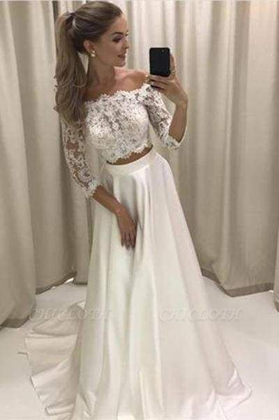 Chicloth Two Piece 3\/4 Sleeve Off the Shoulder Lace Satin Beach Wedding Dress
