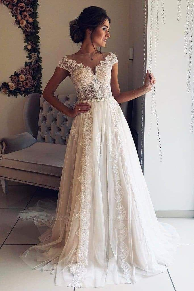 Chicloth A-Line Scalloped-Edge Lace with Sheer Back Ivory Tulle Wedding Dress