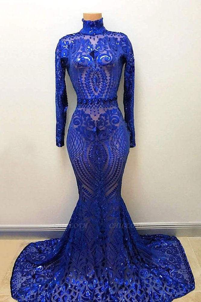 Chicloth High Neck Long Sleeve Sequin Royal Blue Mermaid Prom Dress