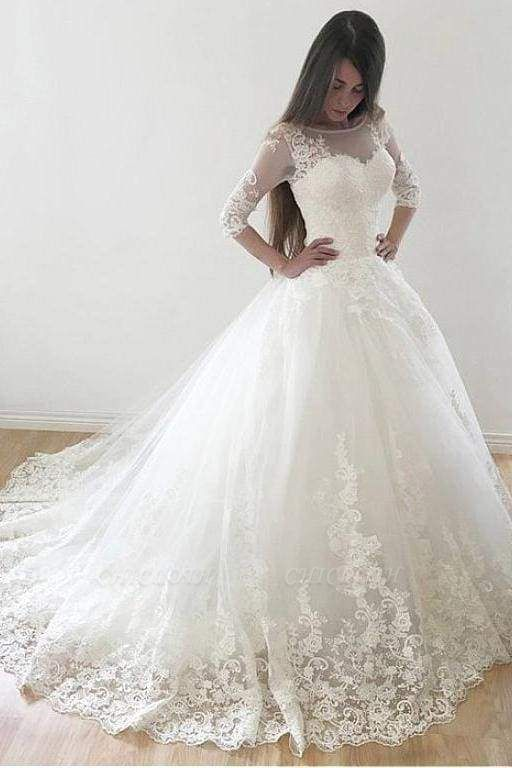Chicloth Ivory Puffy Half Sleeves Long Vintage Tulle Bateau Appliques Wedding Dress