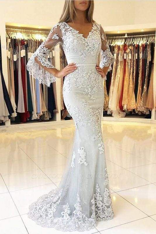 Chicloth White V Neck Long Prom Mermaid Lace Appliqued Evening Dress