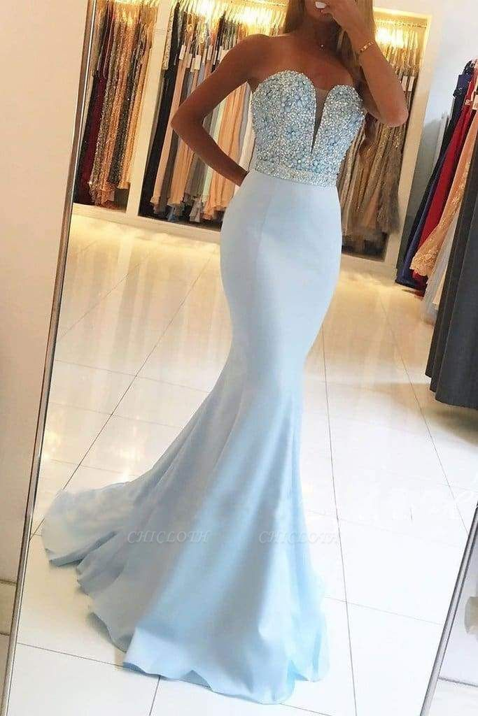 Chicloth Sexy Light Blue Beading Strapless Long Prom Dresses Sparkle Mermaid Party Gown