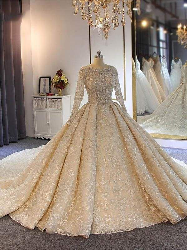 Chicloth luxury Full Lace Beading Long Sleeves Ball Gown Wedding Dresses