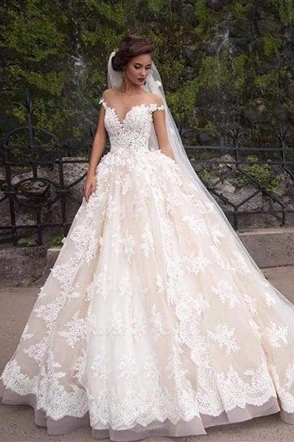 Chicloth Gorgeous Sheer Neck Cap Sleeves Lace Appliques A Line Wedding Dress