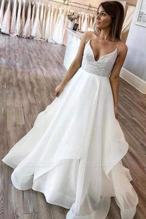 Chicloth Floor Length Spaghetti Straps Beach Simple Wedding Dress